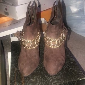 Suede chain ankle booties